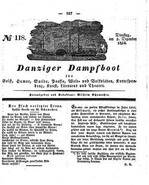 Danziger Dampfboot für Geist, Humor, Satire, Poesie, Welt- und Volksleben, Korrespondenz, Kunst, Literatur und Theater vom 02.12.1834