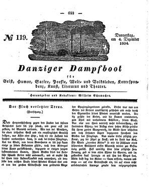 Danziger Dampfboot für Geist, Humor, Satire, Poesie, Welt- und Volksleben, Korrespondenz, Kunst, Literatur und Theater vom 04.12.1834