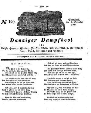 Danziger Dampfboot für Geist, Humor, Satire, Poesie, Welt- und Volksleben, Korrespondenz, Kunst, Literatur und Theater vom 06.12.1834