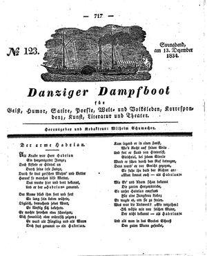 Danziger Dampfboot für Geist, Humor, Satire, Poesie, Welt- und Volksleben, Korrespondenz, Kunst, Literatur und Theater vom 13.12.1834