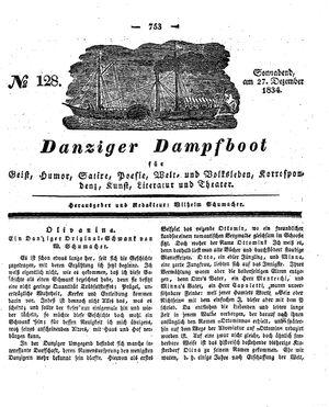 Danziger Dampfboot für Geist, Humor, Satire, Poesie, Welt- und Volksleben, Korrespondenz, Kunst, Literatur und Theater vom 27.12.1834