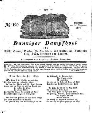 Danziger Dampfboot für Geist, Humor, Satire, Poesie, Welt- und Volksleben, Korrespondenz, Kunst, Literatur und Theater vom 31.12.1834