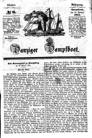 Danziger Dampfboot für Geist, Humor, Satire, Poesie, Welt- und Volksleben, Korrespondenz, Kunst, Literatur und Theater vom 18.01.1851