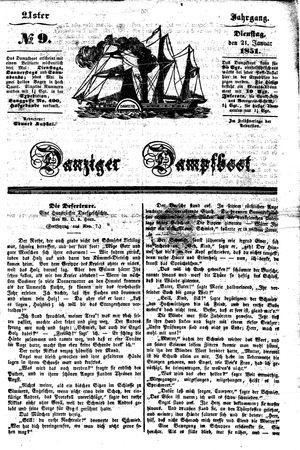 Danziger Dampfboot für Geist, Humor, Satire, Poesie, Welt- und Volksleben, Korrespondenz, Kunst, Literatur und Theater vom 21.01.1851
