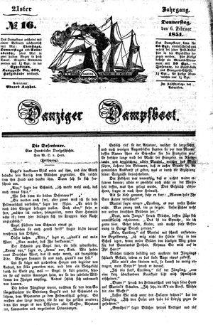 Danziger Dampfboot für Geist, Humor, Satire, Poesie, Welt- und Volksleben, Korrespondenz, Kunst, Literatur und Theater vom 06.02.1851