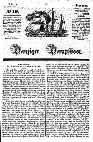Danziger Dampfboot für Geist, Humor, Satire, Poesie, Welt- und Volksleben, Korrespondenz, Kunst, Literatur und Theater vom 13.02.1851