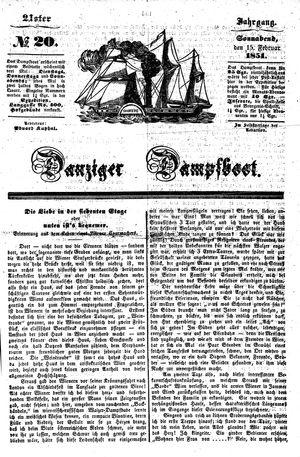 Danziger Dampfboot für Geist, Humor, Satire, Poesie, Welt- und Volksleben, Korrespondenz, Kunst, Literatur und Theater vom 15.02.1851