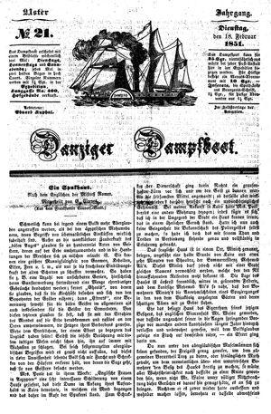 Danziger Dampfboot für Geist, Humor, Satire, Poesie, Welt- und Volksleben, Korrespondenz, Kunst, Literatur und Theater vom 18.02.1851