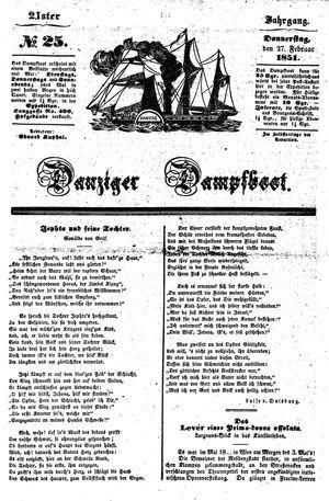 Danziger Dampfboot für Geist, Humor, Satire, Poesie, Welt- und Volksleben, Korrespondenz, Kunst, Literatur und Theater vom 27.02.1851