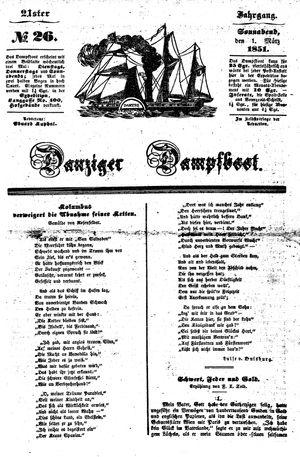 Danziger Dampfboot für Geist, Humor, Satire, Poesie, Welt- und Volksleben, Korrespondenz, Kunst, Literatur und Theater vom 01.03.1851