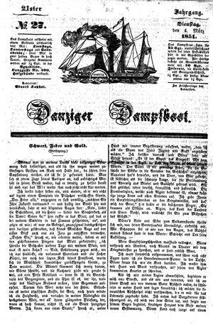 Danziger Dampfboot für Geist, Humor, Satire, Poesie, Welt- und Volksleben, Korrespondenz, Kunst, Literatur und Theater vom 04.03.1851