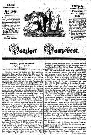 Danziger Dampfboot für Geist, Humor, Satire, Poesie, Welt- und Volksleben, Korrespondenz, Kunst, Literatur und Theater vom 08.03.1851