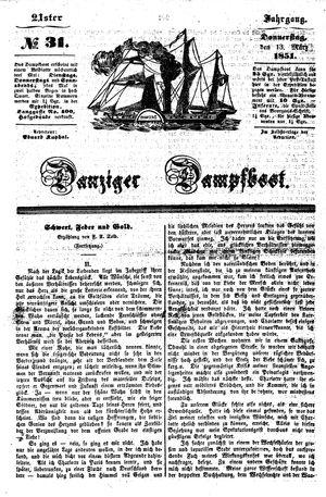 Danziger Dampfboot für Geist, Humor, Satire, Poesie, Welt- und Volksleben, Korrespondenz, Kunst, Literatur und Theater on Mar 13, 1851