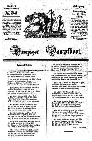 Danziger Dampfboot für Geist, Humor, Satire, Poesie, Welt- und Volksleben, Korrespondenz, Kunst, Literatur und Theater vom 20.03.1851