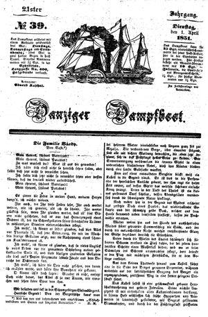 Danziger Dampfboot für Geist, Humor, Satire, Poesie, Welt- und Volksleben, Korrespondenz, Kunst, Literatur und Theater vom 01.04.1851