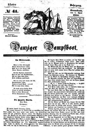 Danziger Dampfboot für Geist, Humor, Satire, Poesie, Welt- und Volksleben, Korrespondenz, Kunst, Literatur und Theater vom 05.04.1851