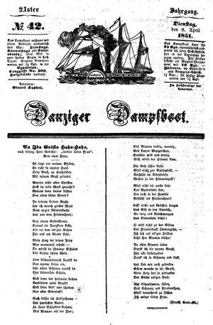 Danziger Dampfboot für Geist, Humor, Satire, Poesie, Welt- und Volksleben, Korrespondenz, Kunst, Literatur und Theater vom 08.04.1851