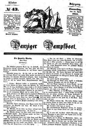 Danziger Dampfboot für Geist, Humor, Satire, Poesie, Welt- und Volksleben, Korrespondenz, Kunst, Literatur und Theater vom 10.04.1851