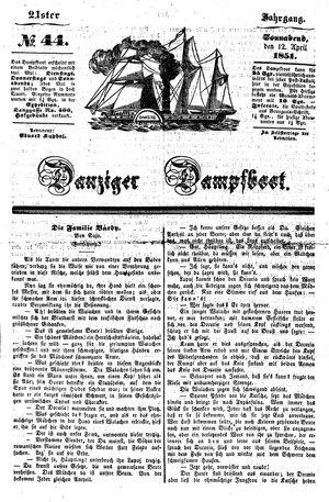 Danziger Dampfboot für Geist, Humor, Satire, Poesie, Welt- und Volksleben, Korrespondenz, Kunst, Literatur und Theater vom 12.04.1851