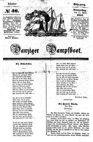 Danziger Dampfboot für Geist, Humor, Satire, Poesie, Welt- und Volksleben, Korrespondenz, Kunst, Literatur und Theater vom 17.04.1851