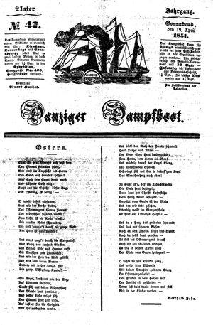 Danziger Dampfboot für Geist, Humor, Satire, Poesie, Welt- und Volksleben, Korrespondenz, Kunst, Literatur und Theater vom 19.04.1851