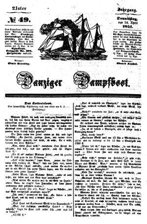 Danziger Dampfboot für Geist, Humor, Satire, Poesie, Welt- und Volksleben, Korrespondenz, Kunst, Literatur und Theater vom 24.04.1851