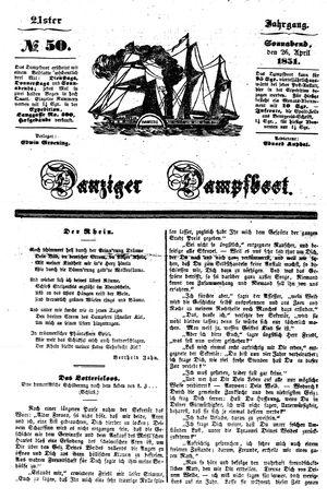 Danziger Dampfboot für Geist, Humor, Satire, Poesie, Welt- und Volksleben, Korrespondenz, Kunst, Literatur und Theater vom 26.04.1851