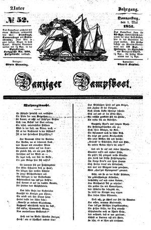 Danziger Dampfboot für Geist, Humor, Satire, Poesie, Welt- und Volksleben, Korrespondenz, Kunst, Literatur und Theater vom 01.05.1851