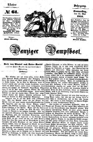 Danziger Dampfboot für Geist, Humor, Satire, Poesie, Welt- und Volksleben, Korrespondenz, Kunst, Literatur und Theater vom 22.05.1851