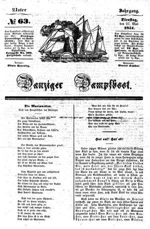 Danziger Dampfboot für Geist, Humor, Satire, Poesie, Welt- und Volksleben, Korrespondenz, Kunst, Literatur und Theater vom 27.05.1851