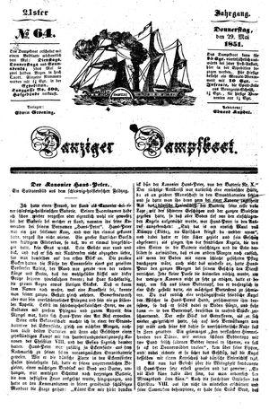 Danziger Dampfboot für Geist, Humor, Satire, Poesie, Welt- und Volksleben, Korrespondenz, Kunst, Literatur und Theater vom 29.05.1851
