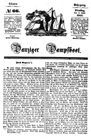 Danziger Dampfboot für Geist, Humor, Satire, Poesie, Welt- und Volksleben, Korrespondenz, Kunst, Literatur und Theater vom 03.06.1851