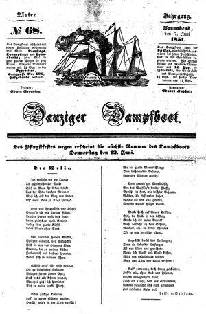 Danziger Dampfboot für Geist, Humor, Satire, Poesie, Welt- und Volksleben, Korrespondenz, Kunst, Literatur und Theater on Jun 7, 1851