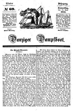 Danziger Dampfboot für Geist, Humor, Satire, Poesie, Welt- und Volksleben, Korrespondenz, Kunst, Literatur und Theater vom 12.06.1851