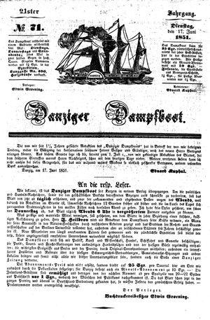 Danziger Dampfboot für Geist, Humor, Satire, Poesie, Welt- und Volksleben, Korrespondenz, Kunst, Literatur und Theater vom 17.06.1851