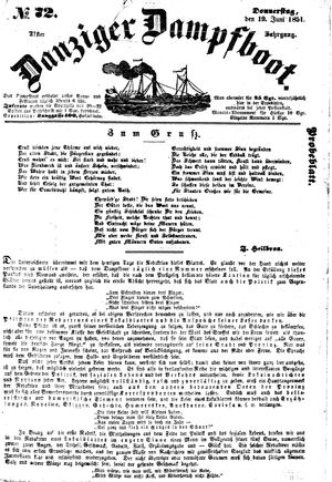 Danziger Dampfboot für Geist, Humor, Satire, Poesie, Welt- und Volksleben, Korrespondenz, Kunst, Literatur und Theater vom 19.06.1851