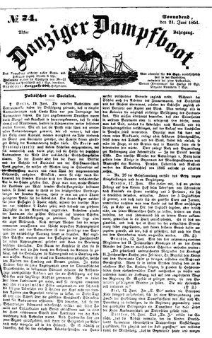 Danziger Dampfboot für Geist, Humor, Satire, Poesie, Welt- und Volksleben, Korrespondenz, Kunst, Literatur und Theater vom 21.06.1851