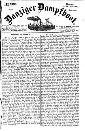 Danziger Dampfboot für Geist, Humor, Satire, Poesie, Welt- und Volksleben, Korrespondenz, Kunst, Literatur und Theater vom 21.07.1851