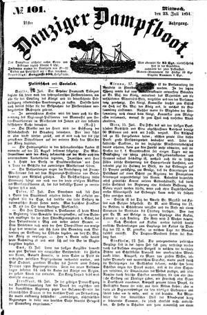 Danziger Dampfboot für Geist, Humor, Satire, Poesie, Welt- und Volksleben, Korrespondenz, Kunst, Literatur und Theater vom 23.07.1851