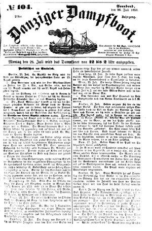 Danziger Dampfboot für Geist, Humor, Satire, Poesie, Welt- und Volksleben, Korrespondenz, Kunst, Literatur und Theater vom 26.07.1851