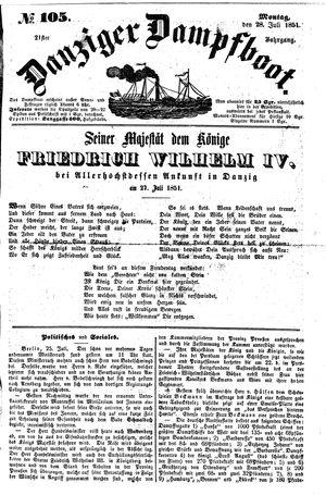 Danziger Dampfboot für Geist, Humor, Satire, Poesie, Welt- und Volksleben, Korrespondenz, Kunst, Literatur und Theater vom 28.07.1851