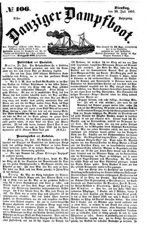 Danziger Dampfboot für Geist, Humor, Satire, Poesie, Welt- und Volksleben, Korrespondenz, Kunst, Literatur und Theater vom 29.07.1851