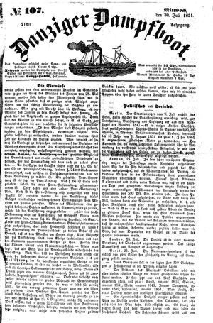 Danziger Dampfboot für Geist, Humor, Satire, Poesie, Welt- und Volksleben, Korrespondenz, Kunst, Literatur und Theater vom 30.07.1851