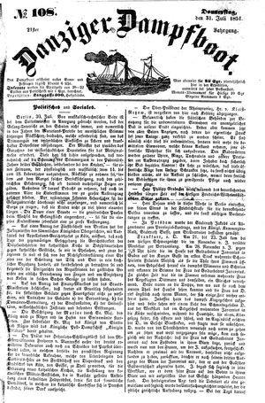 Danziger Dampfboot für Geist, Humor, Satire, Poesie, Welt- und Volksleben, Korrespondenz, Kunst, Literatur und Theater vom 31.07.1851