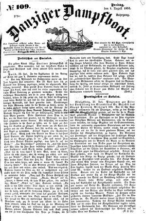 Danziger Dampfboot für Geist, Humor, Satire, Poesie, Welt- und Volksleben, Korrespondenz, Kunst, Literatur und Theater vom 01.08.1851
