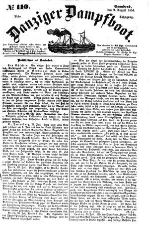 Danziger Dampfboot für Geist, Humor, Satire, Poesie, Welt- und Volksleben, Korrespondenz, Kunst, Literatur und Theater vom 02.08.1851
