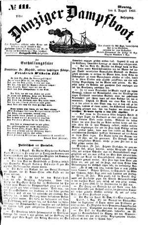 Danziger Dampfboot für Geist, Humor, Satire, Poesie, Welt- und Volksleben, Korrespondenz, Kunst, Literatur und Theater vom 04.08.1851