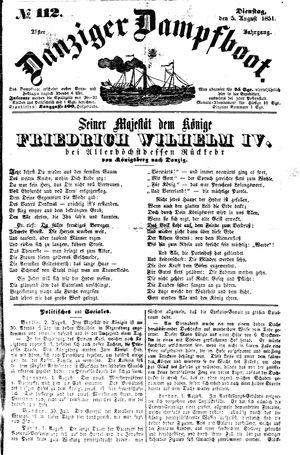 Danziger Dampfboot für Geist, Humor, Satire, Poesie, Welt- und Volksleben, Korrespondenz, Kunst, Literatur und Theater vom 05.08.1851