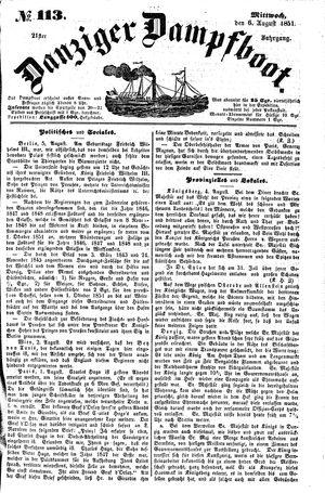 Danziger Dampfboot für Geist, Humor, Satire, Poesie, Welt- und Volksleben, Korrespondenz, Kunst, Literatur und Theater vom 06.08.1851