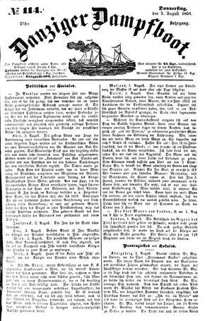 Danziger Dampfboot für Geist, Humor, Satire, Poesie, Welt- und Volksleben, Korrespondenz, Kunst, Literatur und Theater vom 07.08.1851